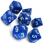 Blue & White Opaque Polyhedral 7 Dice Set